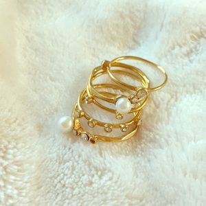 Pearl & crystal stacking rings